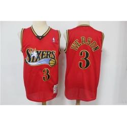 Men Philadelphia 76ers 3 Allen Iverson Red 1999 00 Hardwood Classics Reload Swingman Jersey
