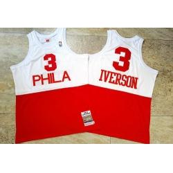Men Philadelphia 76ers 3 Allen Iverson White Red 2003 04 Hardwood Classics Swingman Jersey