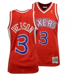 Men Sixers Red 3 Iverson Throwback jersey