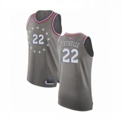Mens Philadelphia 76ers 22 Mattise Thybulle Authentic Gray Basketball Jersey City Edition