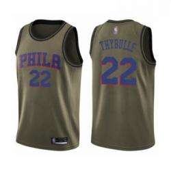 Mens Philadelphia 76ers 22 Mattise Thybulle Swingman Green Salute to Service Basketball Jersey