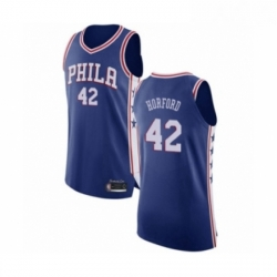 Mens Philadelphia 76ers 42 Al Horford Authentic Blue Basketball Jersey Icon Edition