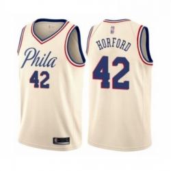 Mens Philadelphia 76ers 42 Al Horford Authentic Cream Basketball Jersey City Edition