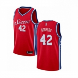 Mens Philadelphia 76ers 42 Al Horford Authentic Red Basketball Jersey Statement Edition