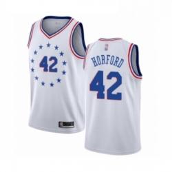 Mens Philadelphia 76ers 42 Al Horford White Swingman Jersey Earned Edition