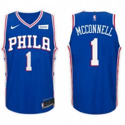 Nike NBA Philadelphia 76ers 1 T J McConnell Jersey 2017 18 New Season Blue Jers