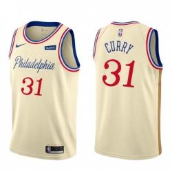 Nike Philadelphia 76ers 31 Seth Curry Men Unveil 2019 20 City Edition Swingman NBA Jersey Cream White