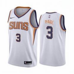 Men Phoenix Suns Chris Paul 3 2020-21 Association Edition White Jersey