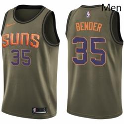 Mens Nike Phoenix Suns 35 Dragan Bender Swingman Green Salute to Service NBA Jersey
