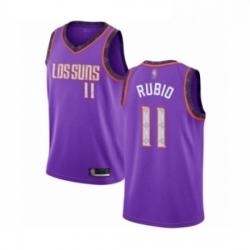 Mens Phoenix Suns 11 Ricky Rubio Authentic Purple Basketball Jersey 2018 19 City Edition