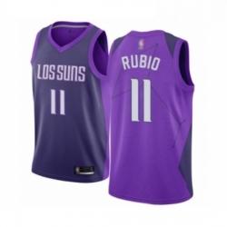 Mens Phoenix Suns 11 Ricky Rubio Authentic Purple Basketball Jersey City Edition