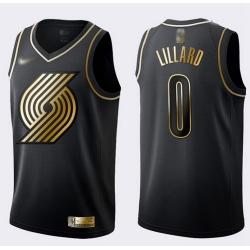 Blazers #0 Damian Lillard Black Gold Basketball Swingman Limited Edition Jersey