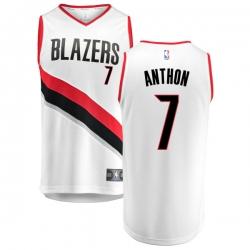Men Blazers 7 Carmelo Anthony White Jersey