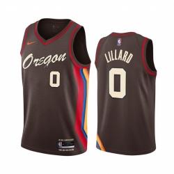 Men Nike Portland Blazers 0 Damian Lillard Chocolate NBA Swingman 2020 21 City Edition Jersey