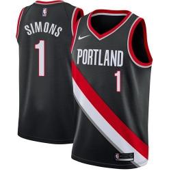 Men Nike Portland Blazers 1 Anfernee Simons Black NBA Swingman Icon Edition Jersey