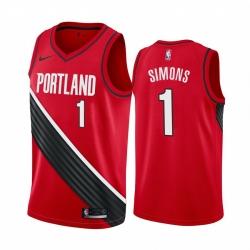 Men Nike Portland Blazers 1 Anfernee Simons Red NBA Swingman Statement Edition 2019 2020 Jersey