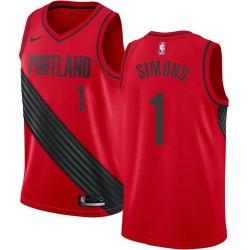 Men Nike Portland Blazers 1 Anfernee Simons Red Statement Edition NBA Swingman Jersey