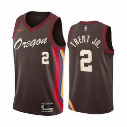 Men Nike Portland Blazers 2 Gary Trent Jr  Chocolate NBA Swingman 2020 21 City Edition Jersey