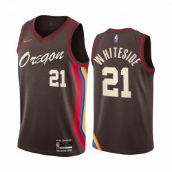 Men Nike Portland Blazers 21 Hassan Whiteside Chocolate NBA Swingman 2020 21 City Edition Jersey