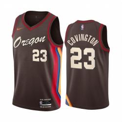 Men Nike Portland Blazers 23 Robert Covington Chocolate NBA Swingman 2020 21 City Edition Jersey