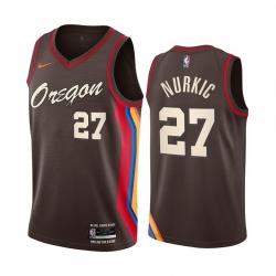 Men Nike Portland Blazers 27 Jusuf Nurkic Chocolate NBA Swingman 2020 21 City Edition Jersey