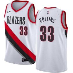 Men Nike Portland Blazers 33 Zach Collins White NBA Swingman Association Edition Jersey