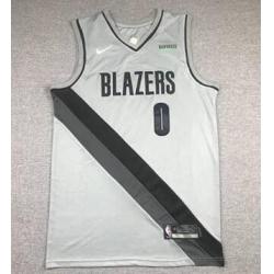 Men Portland Blazers Lillard 0 Gray Men NIke NBA Jersey