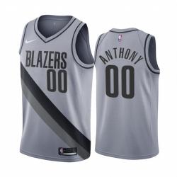 Men Portland Trail Portland Blazers 00 Carmelo Anthony Gray NBA Swingman 2020 21 Earned Edition Jersey