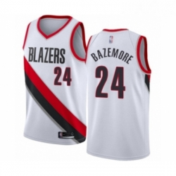 Mens Portland Trail Blazers 24 Kent Bazemore Authentic White Basketball Jersey Association Edition