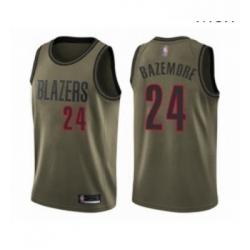 Mens Portland Trail Blazers 24 Kent Bazemore Swingman Green Salute to Service Basketball Jersey