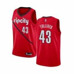 Mens Portland Trail Blazers 43 Anthony Tolliver Red Swingman Jersey Earned Edition
