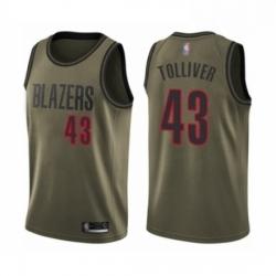 Mens Portland Trail Blazers 43 Anthony Tolliver Swingman Green Salute to Service Basketball Jersey