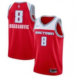 Kings  8 Bogdan Bogdanovic Red Basketball Swingman City Edition 2019 20 Jersey