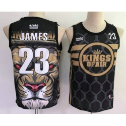 Men Los Angeles Lakers 23 Lebron James Black With Sacramento Kings Of Air Swingman Nike Fashion Jersey
