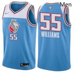 Mens Nike Sacramento Kings 55 Jason Williams Swingman Blue NBA Jersey City Edition