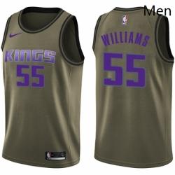 Mens Nike Sacramento Kings 55 Jason Williams Swingman Green Salute to Service NBA Jersey