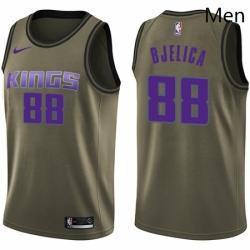 Mens Nike Sacramento Kings 88 Nemanja Bjelica Swingman Green Salute to Service NBA Jersey