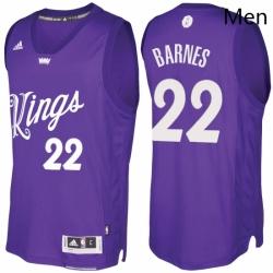 Mens Sacramento Kings 22 Matt Barnes Purple 2016 2017 Christmas Day NBA Swingman Jersey