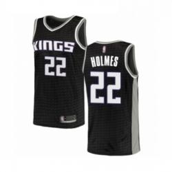 Mens Sacramento Kings 22 Richaun Holmes Authentic Black Basketball Jersey Statement Edition