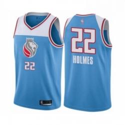 Mens Sacramento Kings 22 Richaun Holmes Authentic Blue Basketball Jersey City Edition