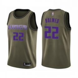 Mens Sacramento Kings 22 Richaun Holmes Swingman Green Salute to Service Basketball Jersey