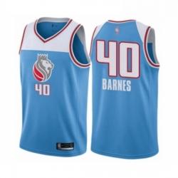 Mens Sacramento Kings 40 Harrison Barnes Authentic Blue Basketball Jersey City Edition