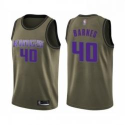 Mens Sacramento Kings 40 Harrison Barnes Swingman Green Salute to Service Basketball Jersey
