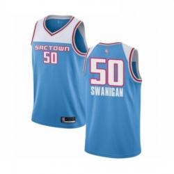 Mens Sacramento Kings 50 Caleb Swanigan Authentic Blue Basketball Jersey 2018 19 City Edition