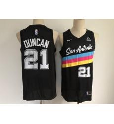 Men San Antonio Spurs 21 Tim Duncan Black 2021 Nike City Edition Swingman Stitched NBA Jersey With The NEW Sponsor Logo