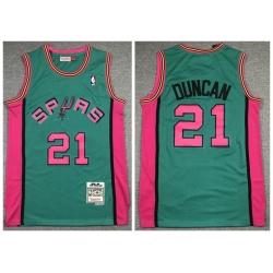 Men Spurs 21 Tim Duncan Green 1998 99 Hardwood Classics Jersey