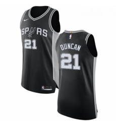 Mens Nike San Antonio Spurs 21 Tim Duncan Authentic Black Road NBA Jersey Icon Edition