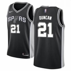 Mens Nike San Antonio Spurs 21 Tim Duncan Swingman Black Road NBA Jersey Icon Edition