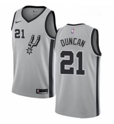Mens Nike San Antonio Spurs 21 Tim Duncan Swingman Silver Alternate NBA Jersey Statement Edition
