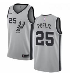 Mens Nike San Antonio Spurs 25 Jakob Poeltl Swingman Silver NBA Jersey Statement Edition